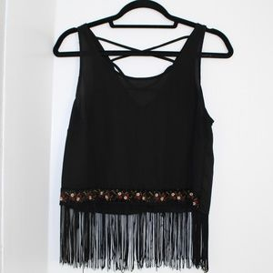 Tops - black fringe bloue